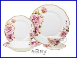 Euro Porcelain 20-pc Dinnerware Set, 24K Gold Premium Bone China, Service for 4