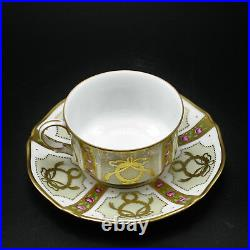 Faberge Gold, Enamel & Jeweled Coffee Cup Saucer Limoges Porcelain China 24K