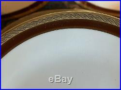 Fine Vintage Richard Ginori Palermo Brown Gold Porcelain China Set 46 Pcs