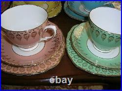 Georgian Victorian Bone China Tea Set Vintage Multi Gold Cups Saucers Side Plate
