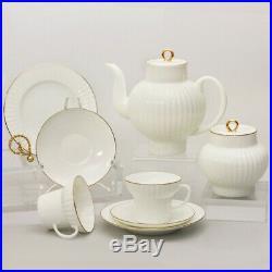 Golden Edge 20 pc Tea Set by Imperial Porcelain Lomonosov LFZ Fine Russian China