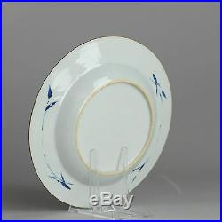 Good condition 18c Kangxi Red Gold Blue Chinese Porcelain Plate Butterfly