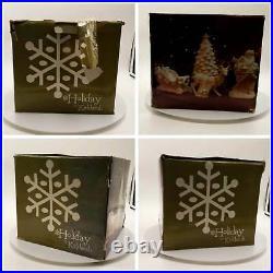 Kirklands Holiday Porcelain White Santa Sleigh Reindeer Tree Gold Accents RET