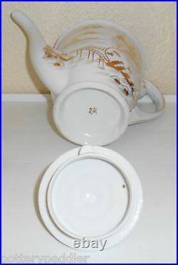 Kutani China Porcelain Gold Countryside Teapot WithLid