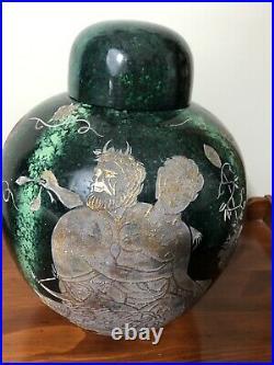 Large Green & Gold PORCELAIN Lidded GINGER JAR/Urn 13 Tall/10 1/2 Diameter