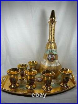 Le Mieux China Decanter Set on Tray 24 K Gold Decorated 6 Cups, Decanter, & Tray