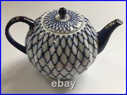 Lomonosov Inspired Made in China Porcelain Cobalt Blue Gold Net Tea Pot