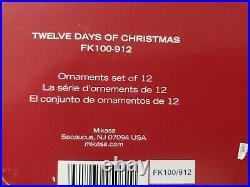 MIKASA SET 12 DAYS OF CHRISTMAS PORCELAIN & GOLD TRIM ORNAMENTS all 12 pieces