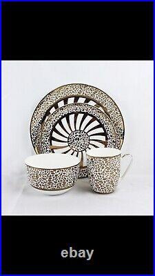 Modern Golden Leopard Round Dinnerware Set 16 Pieces, Fine Bone China