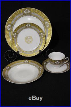 NEW 40pc Highgate Manor HSN GOLD Trim URN & GRIFFIN Porcelain China, Svc for 8