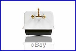 New 24 High Back Farm Sink Cast Iron Original Porcelain Wall Mount Pkg, Black