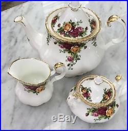 New Box Royal Albert Bone China Country Roses 3Pc Set Tea Or Coffee Set 22K Gold