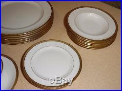 Old Lenox China For Ovington Bros NY Partial Dinner Set J33 Tuxedo Gold