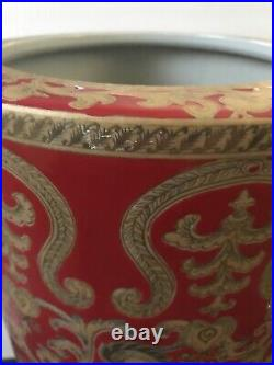 Oriental Chinoiserie Red and Gold Porcelain Umbrella Stand 18.75
