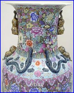 PALATIAL Chinese Porcelain Baluster Floor VASE Gold Gilt Floral JARDINIERE 53H