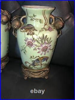 Pair Mark Roberts Gold Bronze Enamel Porcelain 11 Vases Parrots Passion Fruit