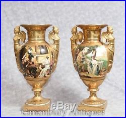 Pair Sevres Porcelain Vases Gold Winged Maiden Urns