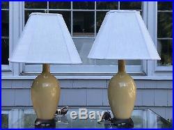 Pair VTG Golden Yellow Chinese Bottle Vase Porcelain Table Lamps