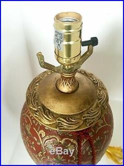 Pair of Chinese Golden Dragon Red Porcelain Vase Ginger Jar LampTassels Vintage