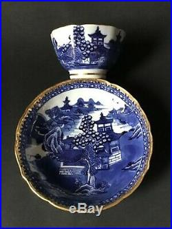 Porcelain Cobalt Blue White Gold Trim Footed Tea Cup Saucer Bowl Chinese Antique