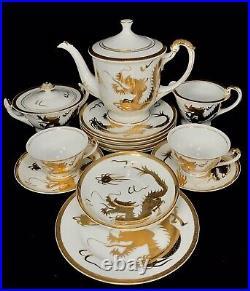 RARE Japanese Kutani Gold Dragon Porcelain China Set Dinnerware Teapot Signed