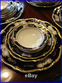 Reichenbach 91+ Pc cobalt blue gold china floral set 11+ settings kobalt rare