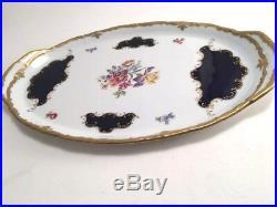 Reichenbach Echt Cobalt Blue&Gold Porcelain Dresser Tray Fine China GDR Germany