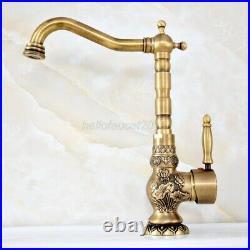 Retro Antique Brass Swivel Bathroom Kitchen Faucet Vessel Sink Basin Mixer Tap