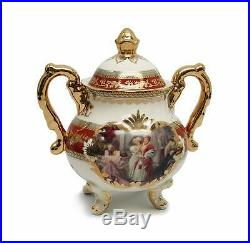 Royalty Porcelain 10pc Baroque RED Antique Dining Tea Set, Handmade Bone China