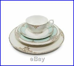 Royalty Porcelain 20-pc Gloria Teal Dinner Set, 24K Gold Premium Bone China