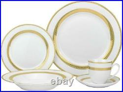 Royalty Porcelain 20-pc'Gold Rope' Dinner Set, Bone China Porcelain