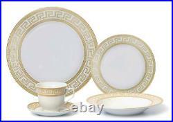 Royalty Porcelain 57-pc Dinner Set, Greek Key Pattern, Bone China (Gold)