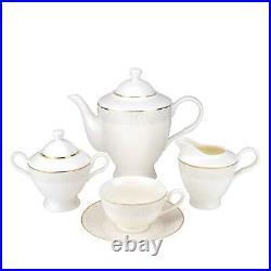 Royalty Porcelain 57-pc White Gold Dinner Set 24K Gold, Bone China Porcelain