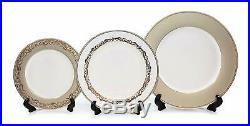 Royalty Porcelain Bella 20-pc White & Gold Dinnerware Set, 24K Bone China