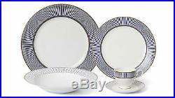 Royalty Porcelain Eloquent Blue 57-pc Banquet Dinnerware Set for 8, Bone China