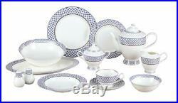 Royalty Porcelain VILLA AZURE 57-pc Banquet Dinnerware Set for 8, Bone China