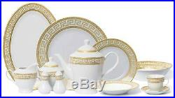 Royalty Porcelain Vintage Gold 57-pc Dinnerware Set'Greek Key Gold', Bone China