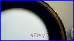 SET/4 AYNSLEY BUCKINGHAM BONE CHINA 10.25 SERVICE PLATES, COBALT & 24k GOLD