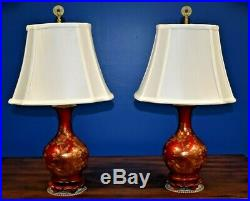 SMALL PAIR OF 23 CHINESE PORCELAIN VASE LAMPS-ASIAN-ORIENTAL-RED WithGOLD PEONY