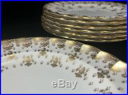 SPODE Copeland FLEUR DE LYS Gold Trim BREAD & BUTTER PLATES 7pcs Bone China Art