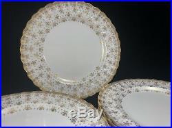SPODE Copeland FLEUR DE LYS Gold Trim DINNER PLATES 8pcs Bone China Earthenware