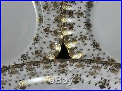 SPODE Copeland FLEUR DE LYS Gold Trim LUNCHEON PLATES 8pcs China Earthenware