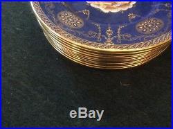 Set 12 Antique Copeland Spode China Cobalt Blue Raised Gold Gilt Charger Plates