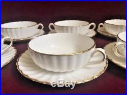 Set of 7 Spode White & Gold Midas Flat Cream Soup Bowl & Saucer Y8151 Bone China