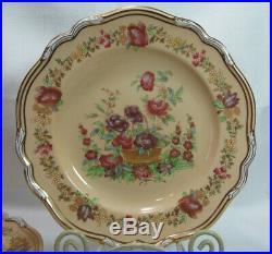 Spode China England Four (4) Antique Y1948 Shafford Dinner Plates Cream Gold