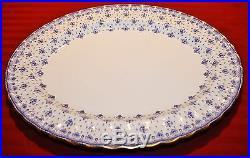 Spode Copeland's China Fleur de Lys Med Oval Platter England Blue Gold Trim