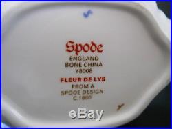Spode England Bone China Fleur De Lys (Lis) Blue Tea Set Gold #Y8008-Near Mint