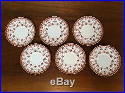 Spode FLEUR DE LYS Red Bone China 2 ½ Flat Cup & Saucer Set of 6 (Lot 2)
