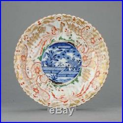 Stunning 1680-1710 Japanese Porcelain Plate Gold Imari with underglaze b