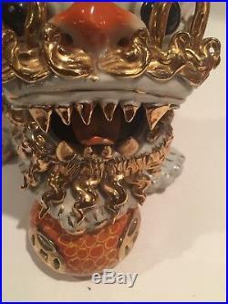 Vintage Chinese Porcelain Ceramic Pottery Foo Dog Lion Gold Foil / Paint